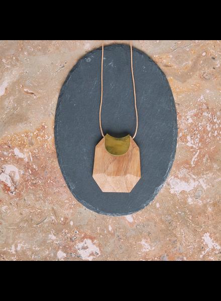OraTen Topanga Pendant, Brass & Faceted Wood - Light Wood