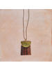 OraTen Gila Pendant, Brass & Wood Linked  - Arch & Trapezoid - Dark Wood