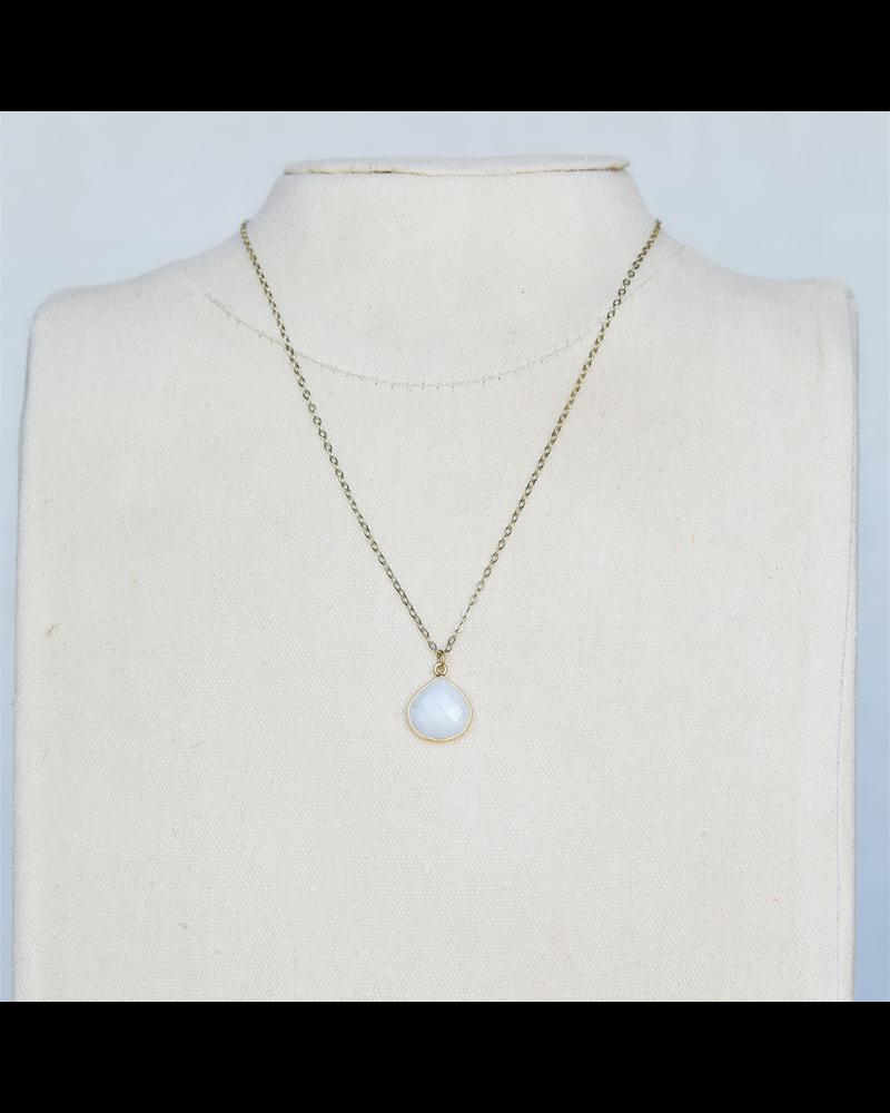 OraTen Lucille Pendant Necklace, Brass Heart Cab - Moonstone