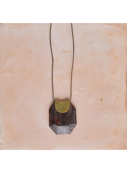 OraTen Topanga Pendant, Brass & Faceted Wood - Dark Wood