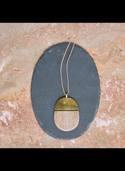 OraTen Mariposa Pendant, Brass & Wood Linked  - Capsule - Light Wood