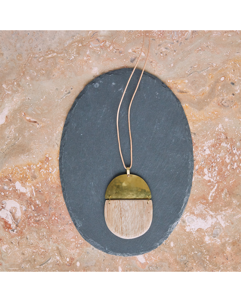 OraTen Mariposa Pendant, Brass & Wood Linked  - Capsule - Light Wood
