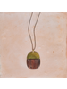 OraTen Mariposa Pendant, Brass & Wood Linked  - Capsule - Dark Wood