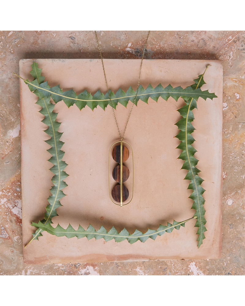 OraTen Ocotillo Brass & Wood Caged Necklace - Dark Wood Brass