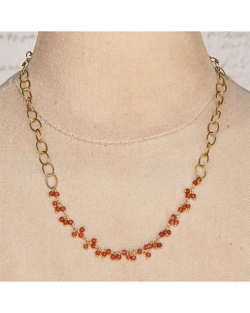 OraTen Angelina Necklace with Dangling Stones - Carnelian