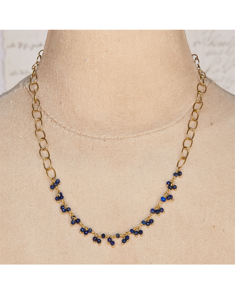 OraTen Angelina Necklace with Dangling Stones - Lapis Lazuli