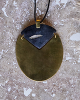 OraTen Padang Linked Oval Pendant Necklace - Dark Horn, Brass
