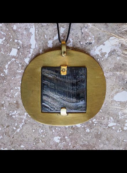 OraTen Sumatra Pendant with Square Horn - Dark Horn, Brass