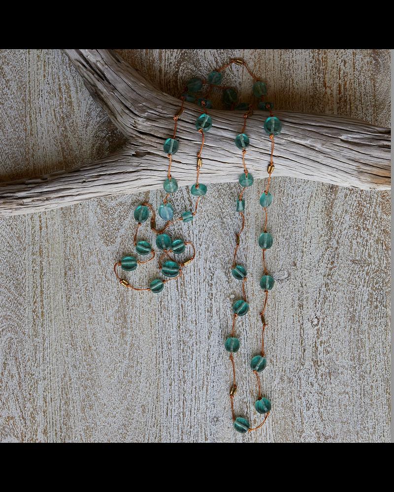 OraTen Seaglass Disk Fishing Line Necklace - Aqua onOrange Line