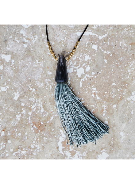 OraTen Tuall Tassel Pendant Necklace - Dark Horn, Teal