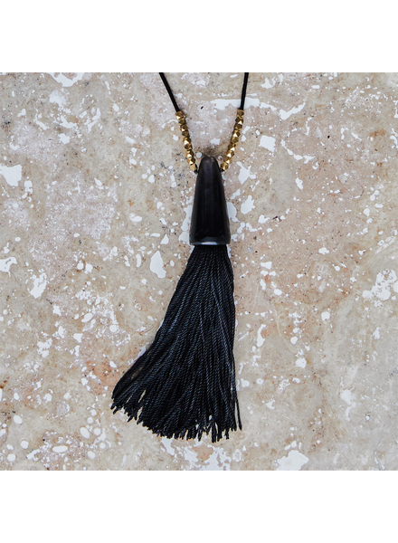 OraTen Tuall Tassel Pendant Necklace- Dark Horn, Black