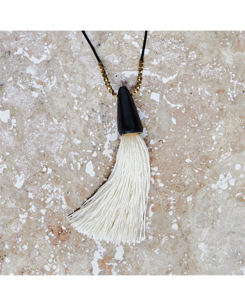 OraTen Tuall Tassel Pendant - Dark Horn, Ivory