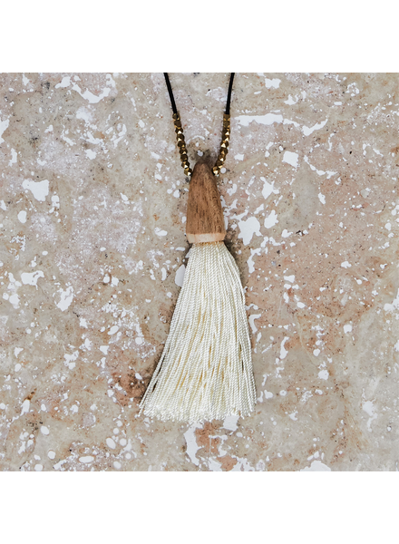 OraTen Tuall Tassel Pendant - Light Wood, Ivory