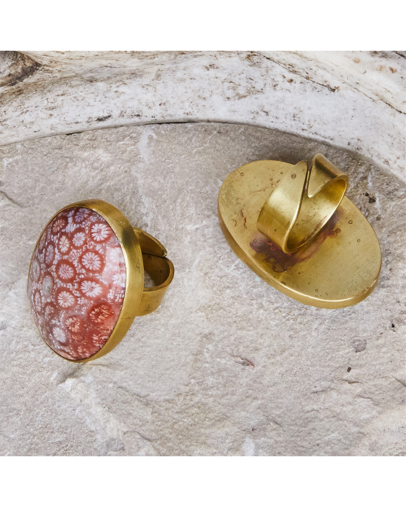 OraTen Bezel Set Ring, Brass - Fossilized Coral