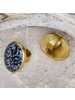 OraTen Bezel Set Ring, Brass - Snowflake Obsidian