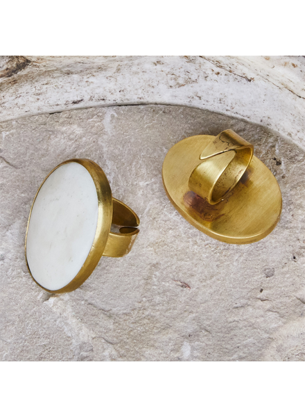 OraTen Bezel Set Ring, Brass - Bone