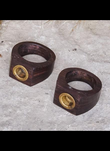 OraTen Tengara Square Wood Ring, Assorted