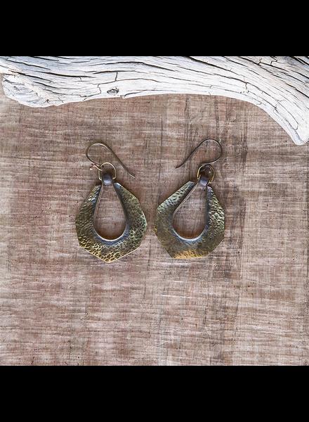 OraTen Octagon Drop Brass Earrings - Grey Bead