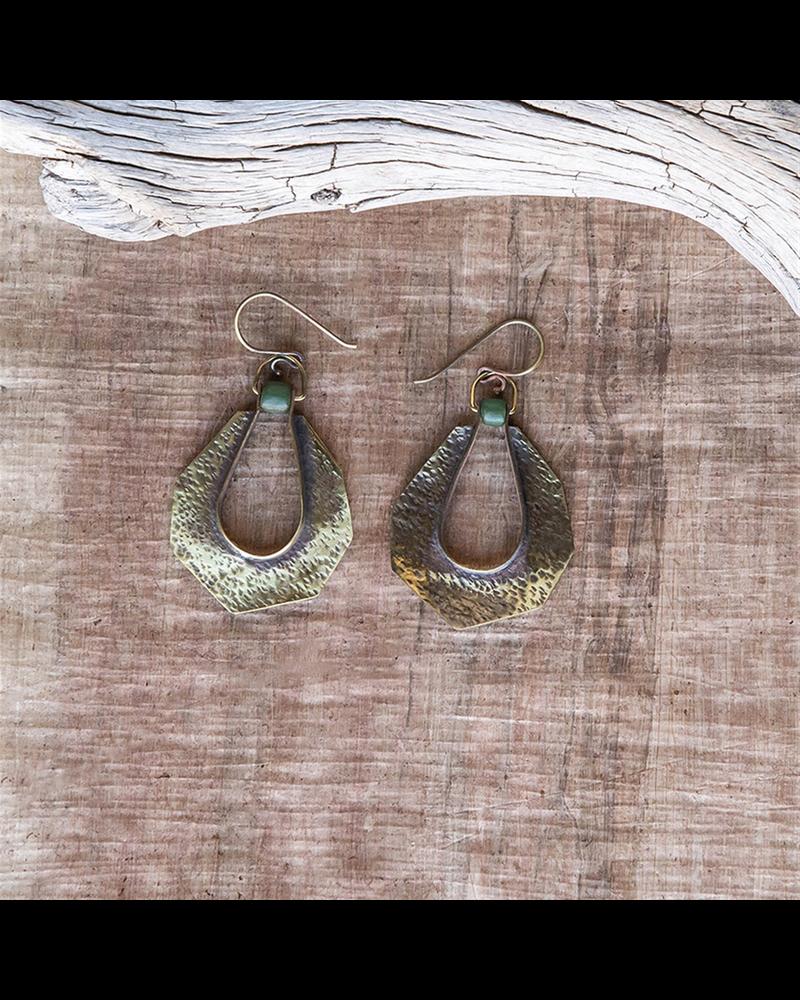 OraTen Octagon Drop Brass Earrings - Green Bead