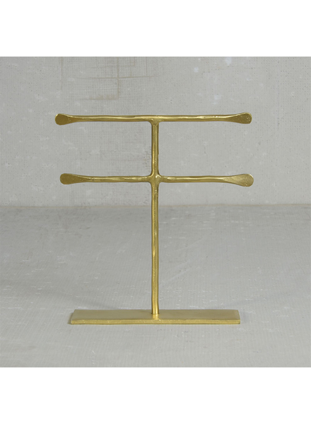 HomArt Maddox Forged Iron Jewelry Double T Stand - Med 7.5 - Brass