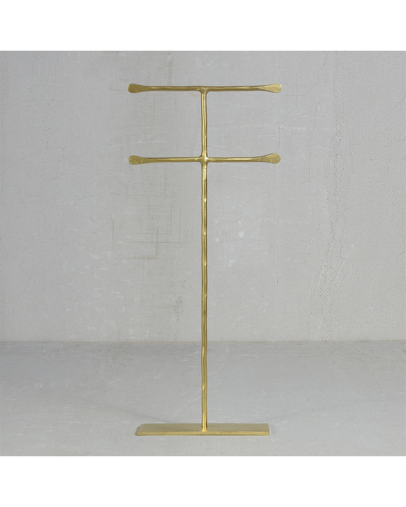HomArt Maddox Forged Iron Jewelry Double T Stand - Extra Tall 16 - Brass