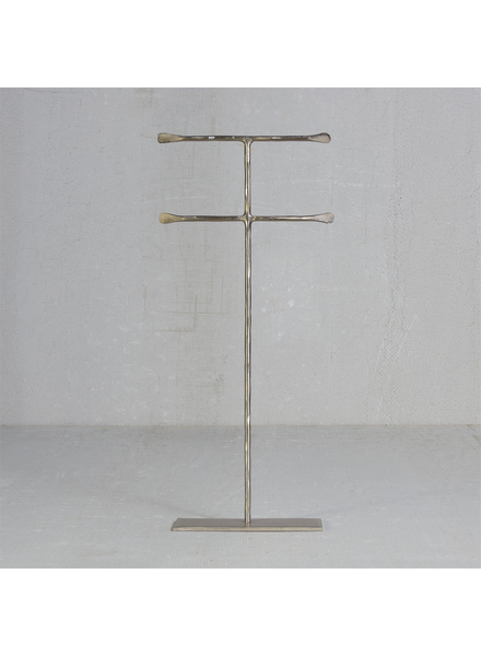 HomArt Maddox Forged Iron Jewelry Double T Stand - Extra Tall 16 - Silver