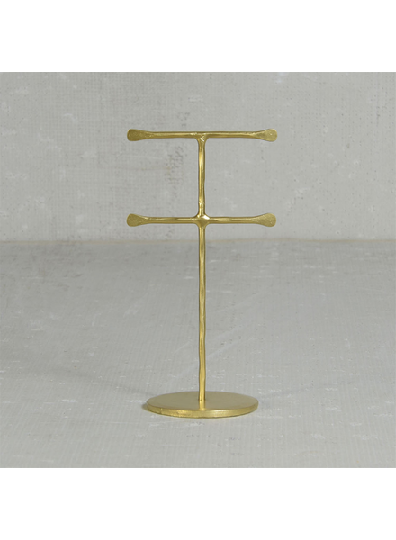 HomArt Maddox Forged Iron Jewelry Double T Stand - Mini - Brass