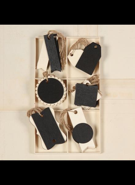 HomArt Black Banner Wood Hangtags - Box of 18 - Set of 2 Boxes