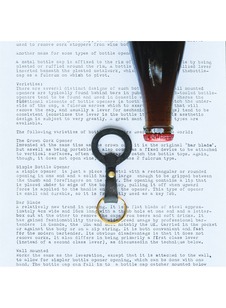 HomArt Black Keychain Bottle Opener, Forged Iron - Set of 2