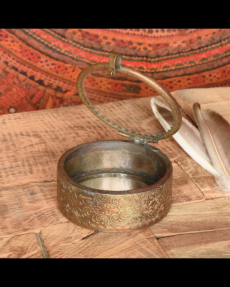 HomArt Josephine Mirrored Box, Brass - Sm Round