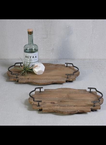 HomArt Pisco Wood Tray with Metal Handles - Lrg