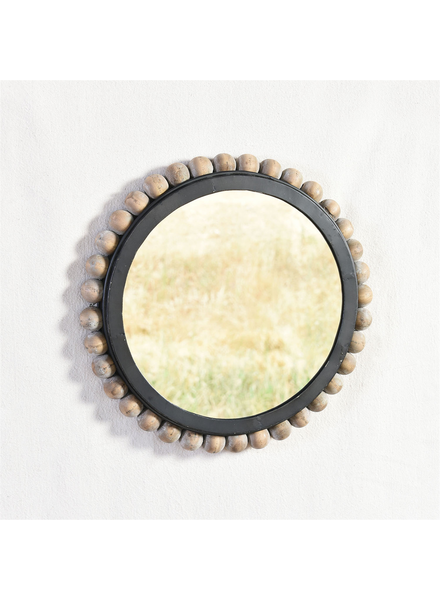 HomArt League Mirror with Wood Bead Frame