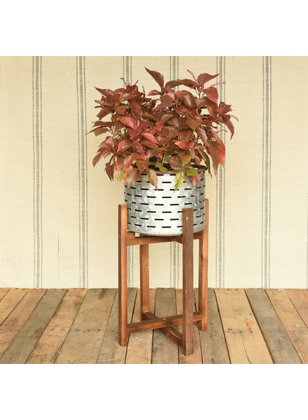 HomArt Henley Planter with Wood Base - Galvanized