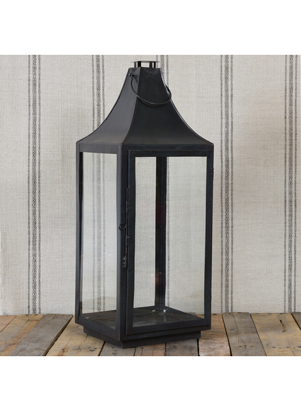HomArt Cole Metal Lantern - Lrg - Black Waxed