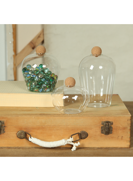 HomArt Small Sable Glass Jar with Cork Ball Stopper - Set of 2