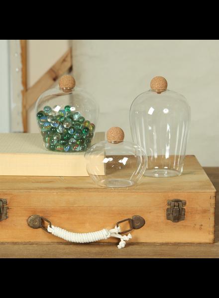 HomArt Medium Sable Glass Jar with Cork Ball Stopper