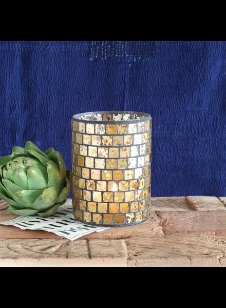 HomArt Mosaic Glass Hurricane - Med - Gold Luster