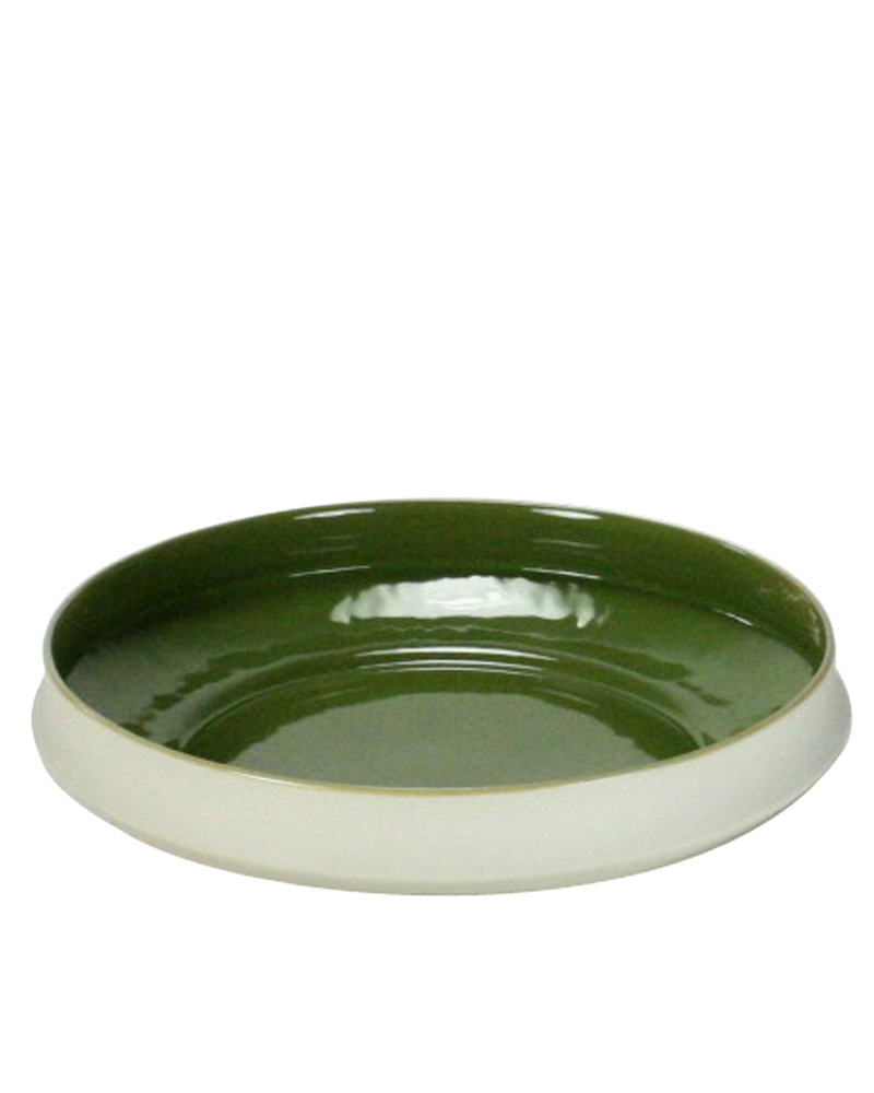 HomArt Meadow Ceramic Plate - Lrg - White OUT - Green IN