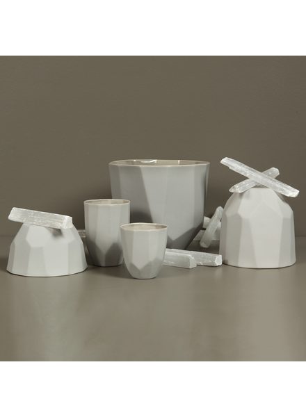 HomArt Quartz Faceted Ceramic Bowl - Med - Grey