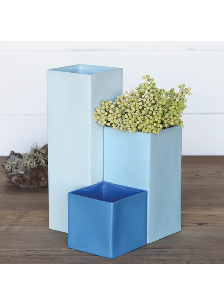 HomArt Pier Cube Vase - Med - Medium Blue