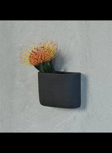 HomArt Ceramic Wall Pocket, Rect - Sm - Grey
