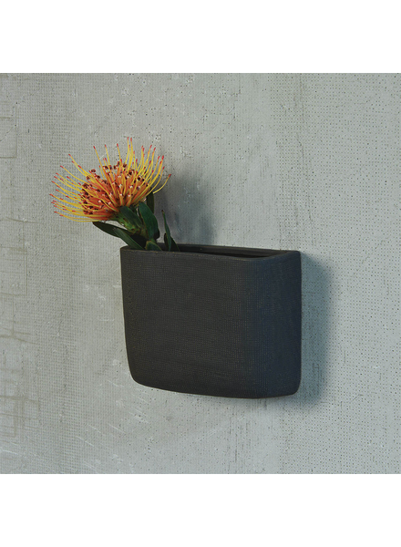 HomArt Ceramic Wall Pocket, Rect - Lrg - Grey