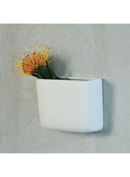 HomArt Ceramic Wall Pocket, Rect - Lrg - White