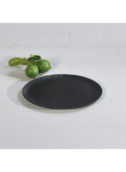 HomArt Large Black Dominic Ribbed Oval Plate, Ceramic