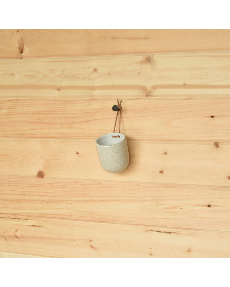 HomArt Medium Logan Hanging Vase, Ceramic - Speckled White - Set of 2