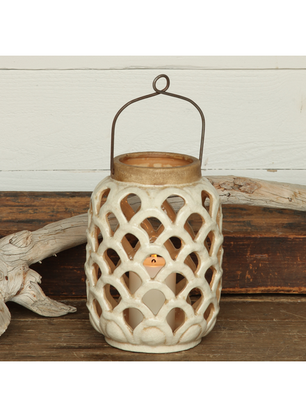 HomArt Sirena Ceramic Lantern - Sm - Antique White