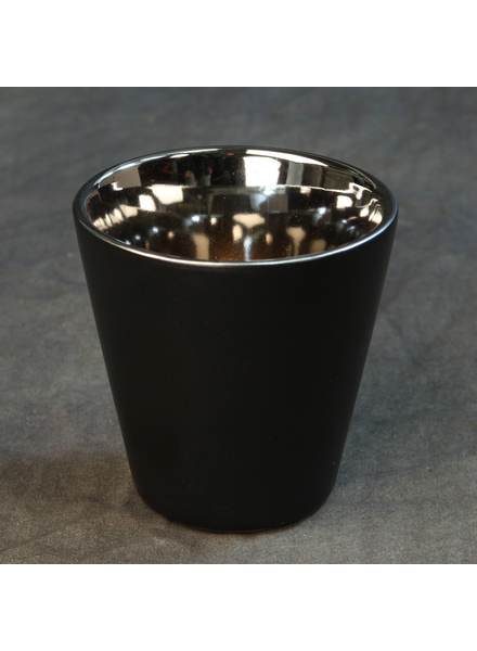 HomArt Raas Ceramic Votive Cup - Low - Black OUT - Silver IN - Set of 4