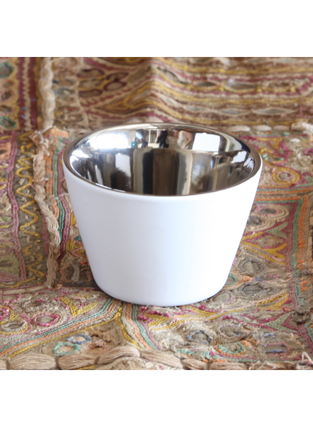 HomArt Raas Ceramic Votive Cup - Low - White OUT - Silver IN - Set of 4