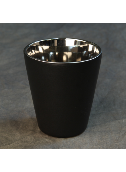 HomArt Raas Ceramic Votive Cup - Lrg - Black OUT - Silver IN - Set of 4