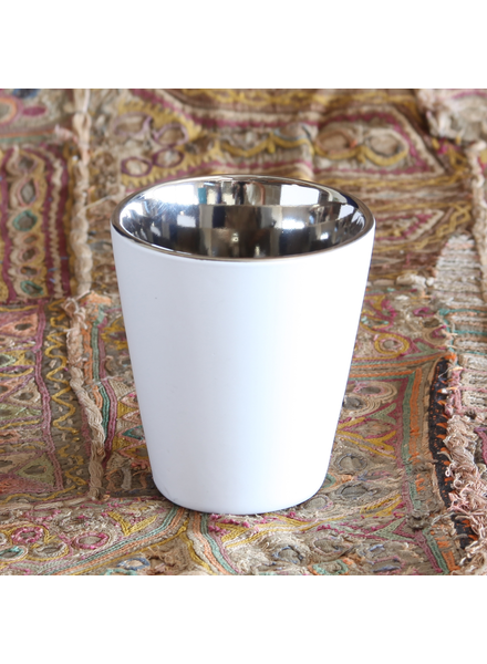 HomArt Raas Ceramic Votive Cup - Lrg - White OUT - Silver IN - Set of 2